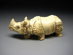 Japanese Antique Rhino Netsuke Okimono Animal Doll Mammoth