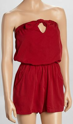 Crimson Red Strapless Romper