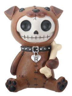 Furrybones® Rocky is a resin figurine featuring the signature skeleton Furrybones dressed up as a Dog. He is holding a white bone in his hands. Makes a great gift! Made of cold cast resin. Hand painte