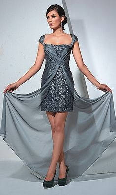 Mignon 2012 LM Collection Homecoming Dresses - Dove Sequin with Chiffon Overlay Cap Sleeve Homecoming Dress - 0 - 16 Cute Prom Dresses, Homecoming Dresses, Short Dresses, Bridesmaid Dresses, Dresses 2014, Ball Dresses, Party Dresses, Bridesmaids, Ball Gowns