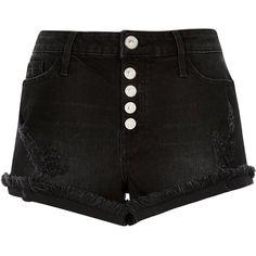 River Island Black raw hem distressed denim shorts ($43) ❤ liked on Polyvore featuring shorts, bottoms, pants, black, zipper shorts, distressed shorts, torn shorts, tall shorts and destroyed shorts