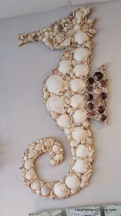 Vidrieras y Seashell Mosaico Mar Criaturas - pulpo, caballitos de mar y tortuga de mar Arte de la pared