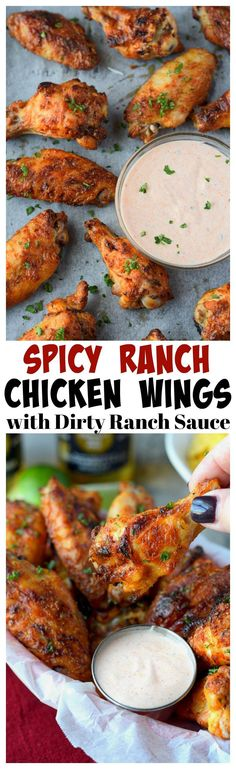 These Chicken Wings are crispy on the outside and juicy on the inside. Dipped in Dirty Ranch Sauce is simply mouthwatering and always a huge party hit! Baked Chicken Wings, Chicken Wing Recipes, Butter Chicken, Chicken Thighs, Cooking Recipes, Healthy Recipes, Spicy Recipes, Cooking Ideas, Gourmet
