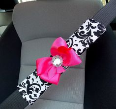 Car Seat Belt Cover Black and White Damask with Bow $15 www.etsy.com/shop/TurtleCoveStudio