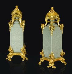 A pair of Louis XV style gilt-bronze mounted celadon-glazed Chinese porcelain square bottles the porcelain Qing dynasty, Qianlong period (1736-1795), the mounts late 19th century 36cm. high