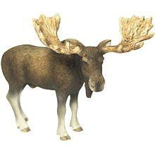 Schleich Moose Bull by Schleich. $10.38. Zoological Name: Alces alces. 3.2 in L x 5.4 in W x 4 in H. Conservation Status: Least concern (LC). Fun Fact: Moose's antlers fully grow within three to five months, making them one of the fastest growing organs in animals.. Primary Habitat: Forest. Making this tall forest dweller even taller are the antlers he carries on his head. Known as elk in Europe, moose are the largest of all the deer family. These large animals ...