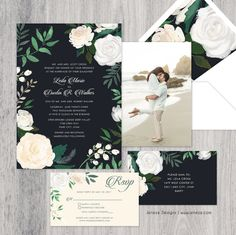 White Floral Wedding Invitation  Custom Wedding Invitation