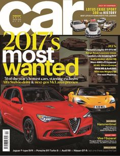In this issue:  2017's most wanted! 31 of the year's hottest cars, starring exclusive Alfa Stelvio drive & next-gen McLaren preview  Cult of Chapman: Lotus Exige Sport 380 vs History. Best Lotus in years meets the legends.  Big drive: Hammertime! Fast and only slightly afraid in AMG's 577bhp GT R  Giant test: Vive l'Espace! Peugeot 3008 and Seat Ateca vs new Scenic, the MPV's last stand  200mph club: Jaguar F-type SVR vs Porsche 911 Turbo S vs Audi R8 vs Nissan GT-R: last one t...