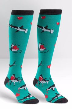 If life just took a bite out of your heart, these knee highs will help you keep walking tall! Our Love Bites Knee Socks feature images of sharks snacking on red hearts. Approximately fits women's shoe size 5-10.   Love Bites Socks by Sock it to me. Accessories - Socks Omaha, Nebraska