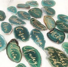 "Agate Wedding Calligraphy Place Cards Green 2""-3""