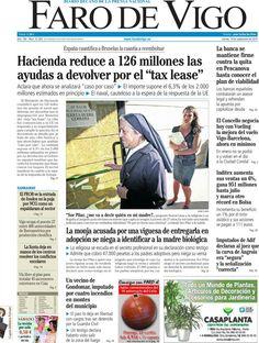 Los Titulares y Portadas de Noticias Destacadas Españolas del 19 de Septiembre de 2013 del Diario Faro de Vigo ¿Que le pareció esta Portada de este Diario Español?