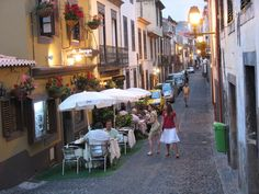 The Street side restaurants — at Funchal, Madeira Island, Portugal.