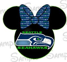 Seattle Seahawks Football DIGITAL printable Mouse head with bow DIY file