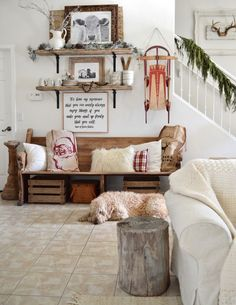 farmhouse holiday | natrual greens, wood stump, white faux fur
