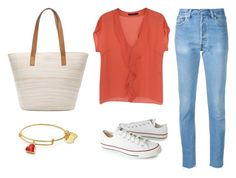Coral outfit: coral look casual by angelainferrera on Polyvore featuring moda, Laurèl, RE/DONE, Converse, Chico's and coral