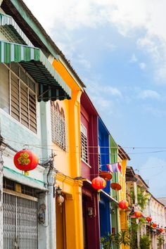 Colorful buildings along the old streets of Phuket Town