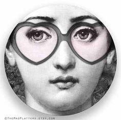rose colored glasses Cavalieri melamine plate