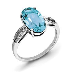 Sterling Silver Rhodium Oval Blue Topaz & Diam. Ring QR3078BT
