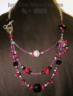 Pink, Black and Silver Beaded Necklace with Lock and Key Side Clasp