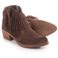 Eric Michael Beth Fringed Ankle Boots - Suede (For Women) in Black - Closeouts