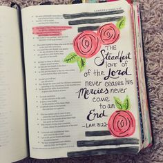 Bible Journaling, My work - Cassi B (bright_forest) Lamentations Bible Verse Art, My Bible, Bible Verses Quotes, Doing Me Quotes, Beautiful Word Bible, Bible Study Journal, Scripture Journal, Bible Resources, Lamentations