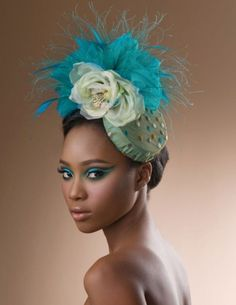 Turquoise Fascinator by Arturo Rios
