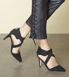 Chic, flattering black pumps made from luxuriously soft nubuck leather | Sole Society Tina