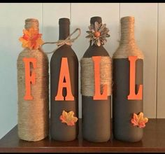 Items similar to Fall Twine Wrapped Wine Bottle on EtsyFall Twine Wrapped Wine Bottle by PopYourCorkDesigns on EtsyFall Wine Bottle Crafts @ Chelsea Robinson Can Do This!Fall Wine Bottle Crafts @ Chelsea Robinson Can Do Wine Craft, Wine Bottle Crafts, Jar Crafts, Bottle Bottle, Rock Crafts, Shell Crafts, Easy Thanksgiving Crafts, Autumn Crafts, Holiday Crafts