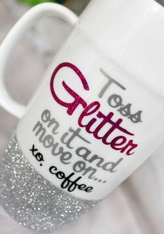 Best Friend Coffee Mug Glitter Coffee Mug by MonogramRevolution