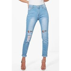 478785410 Boohoo Mia Mid Rise Embroidered Distressed Knee Skinny Jeans ($13) ❤ liked  on Polyvore featuring jeans, white high waisted jeans, high-waisted  boyfriend ...