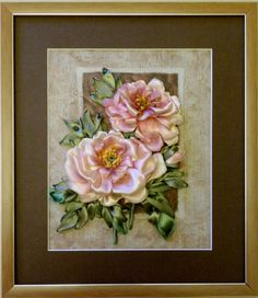 Diy Ribbon Flowers, Ribbon Art, Paper Flowers, Silk Ribbon Embroidery, Embroidery Art, Cold Porcelain Flowers, Handmade Flowers, Flower Cards, Pink Roses