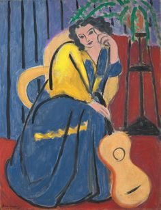 'Girl in Yellow and Blue with Guitar' - Henri Matisse - Art Institute of Chicago Henri Matisse, Matisse Kunst, Matisse Art, Raoul Dufy, Pablo Picasso, Art And Illustration, Illustrations, Art Fauvisme, Maurice De Vlaminck