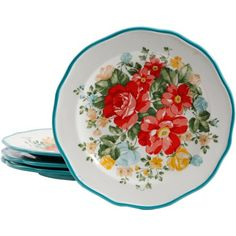 The Pioneer Woman Vintage Floral Salad Plate Set, Set of 4 Image 2 of 3 Pioneer Woman Set, Pioneer Woman Dishes, Pioneer Woman Kitchen, Pioneer Women, Gold Color Palettes, Salad Plates, Salad Bowls, Country Cooking, Dinnerware Sets