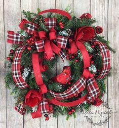 Cardinal Wreath, Cardinal Christmas Wreath, Christmas Wreaths for Front Door, Red Cardinal Gifts, Wi Christmas Wreaths For Front Door, Cute Christmas Tree, Holiday Wreaths, Plaid Christmas, Christmas Wrapping, Christmas Movies, Family Christmas, Diy Fall Wreath, Wreath Ideas
