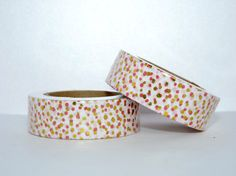 Foil Washi Tape roll - gold  red dots - Christmas - Gift - decoration