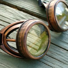 Steampunk goggles glasses Time Travel Crazy Scientist's Oculo-Vision Tool---D copper clear by oldjunkyardboutique