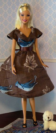 Gray linen dress with bluejays for Silkstone and model muse Barbie