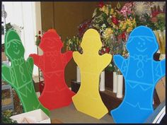 candyland characters....use a projector to transfer image onto foam, plywood or...for base.
