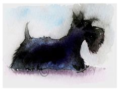 A personal favorite from my Etsy shop https://www.etsy.com/listing/217929782/scottish-terrier-dog-art-print-scottie