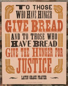 Give Bread letterpress poster by starshapedpress on Etsy, via Etsy.