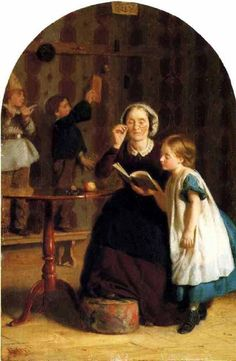 The Reading Lesson. Seymour Joseph Guy (American, 1824-1910).