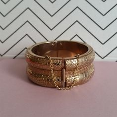 Vintage Hinged Cuff  Gold Snake Pattern Bracelet - Love Egyptian Revival! #vintagejewelry #midcentury #fashion