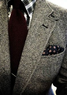 Tweed blazer, country plaid shirt, and great pocket square