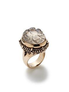 Stephen Dweck Carved Smokey Quartz Oval Ring