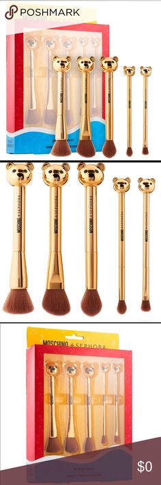 ‼️LIMITED ED‼️MOSCHINO + SEPHORA Bear Brush Set 🌷 What it is: A five-piece brush set for all your makeup needs  🌷This set contains:  - All-over face brush - Cheek brush - Highlight brush - All-over shadow brush - Crease brush  🌷 Brushes can be used with both wet and dry formulas Sephora Makeup Brushes & Tools