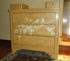 Hand painted love bird dresser by MalcolmHome on Etsy,