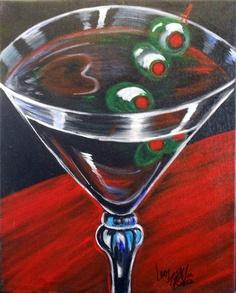 Original Modern Whimsical Martini Glass by GalleryOffBroadway, $40.00