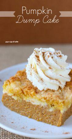 The Best Pumpkin Dump Cake, just DUMP your cake mix on top of pumpkin pie filling!
