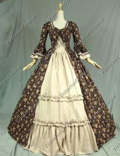 Colonial Victorian Princess Vintage floral Dress Ball Gown Reenactment Halloween Costume