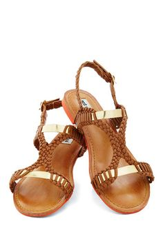 Weave It Up to Me Sandal - Brown, Gold, Solid, Braided, Casual, Beach/Resort, Boho, Summer, Flat, Faux Leather